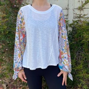 Anthropologie | colorful balloon sleeve top